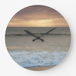 Clock: Beach waves after sunset Large Clock