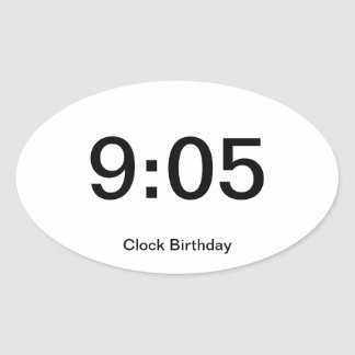Clock Birthday Sticker 9:05