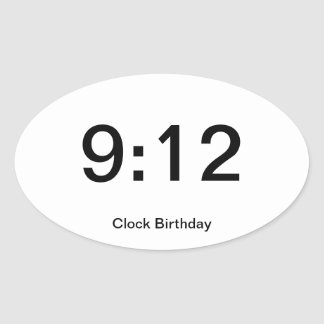 Clock Birthday Sticker 9:12