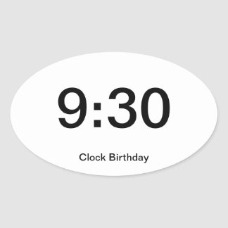Clock Birthday Sticker 9:30