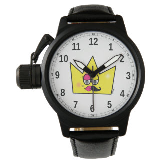 Clock Black Leather and Protective Crown - Trans Watches