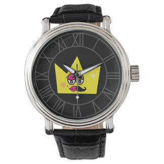 Clock Black Leather Vintage - Transgênero Trans Wristwatches