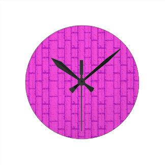 Clock brick wall pink