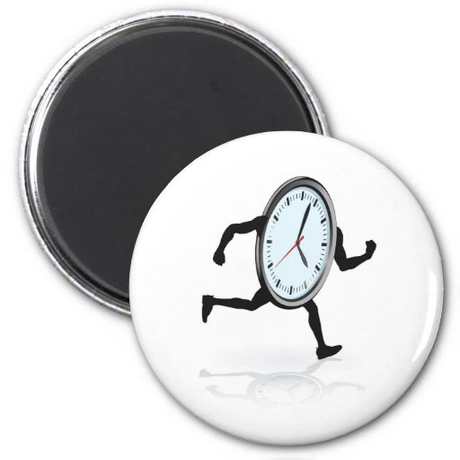 Clock character running 2 inch round magnet