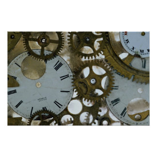 Clock cogs in ice print