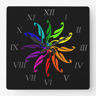Clock - Color Wheel leaves  with Roman Numerals