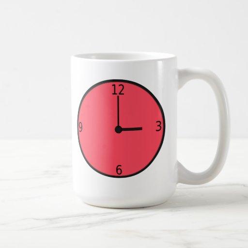 Clock Displaying Time Coffee Mugs