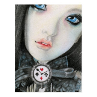 Clock doll face fantasyPostcard Post Card