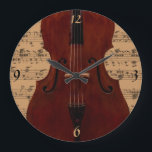 """Clock - Double Bass with music - Pick your color<br><div class=""""desc"""">Wall clock featuring a double bass and sheet music background.  Use the &quot;Customize&quot; button to change the background color behind the music,  add your own text,  etc.</div>"""