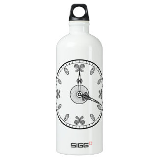 Clock Face Aluminum Water Bottle