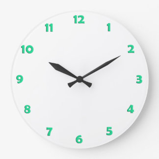 Clock Face Numbers - cold green Clock