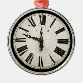 Clock Face Round Metal Christmas Ornament