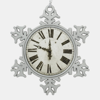 Clock Face Snowflake Pewter Christmas Ornament