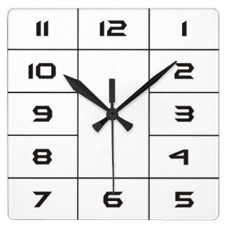 Clock Face Squares Numbers - black Square Wallclock