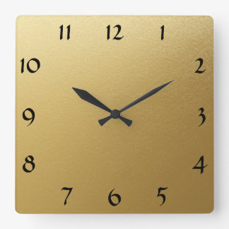 Clock Face Template DemiTasse Bold Font Faux Gold