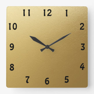 Clock Face Template Hobo BT Font Faux Gold Square