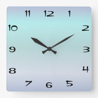 Clock Face Template Tannarin Font Square Blue