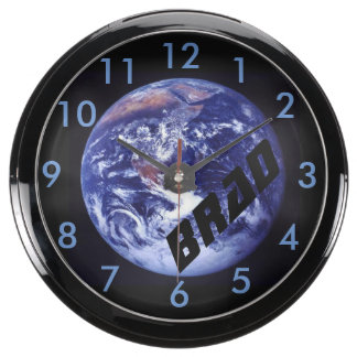 Clock Fish Tank Planet Earth from OuterSpace Aqua Clock