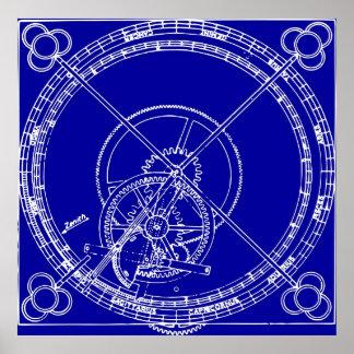 Clock Gears Blueprint Posters