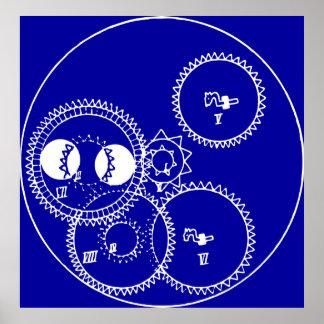 Clock Gears Blueprint Print