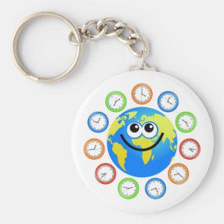 Clock Globe Basic Round Button Keychain