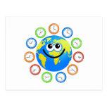 Clock Globe Postcard