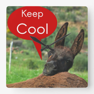 Clock: Happy Donkey - Keep Cool Square Wall Clock