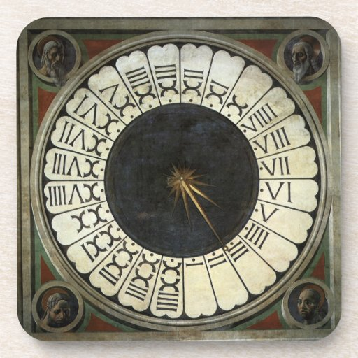 Clock in the Duomo by Uccello, Renaissance Art Drink Coasters