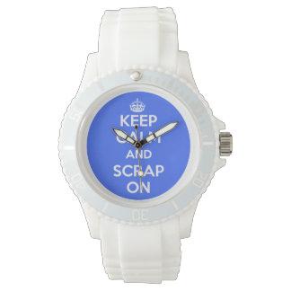Clock Keep Calm and Scrap blue On Wrist Watch