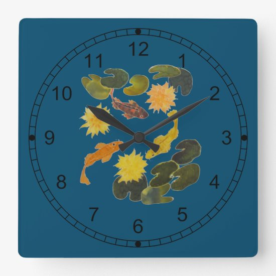 Clock - Koi Among Lily Pads