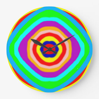 Clock - Large Round - hand-drawn coloured circles