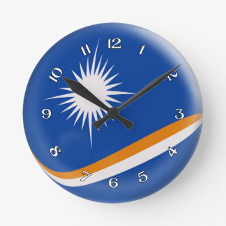 Clock Marshall Island flag Bubble Design