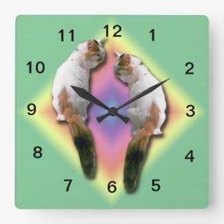 Clock - Mirrored cat