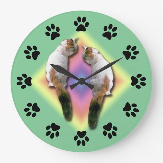 Clock - Mirrored cat with paw prints