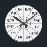 "Clock - Ohm`s Laws<br><div class=""desc"">Clock - Ohm`s Laws printed on.</div>"
