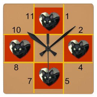 Clock - Pet patchwork (red heart)