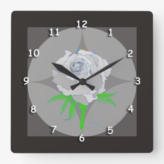 Clock - Rose and Geometric Background in Black