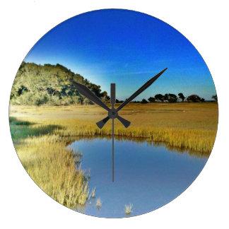 Clock, Round, Large Lowcountry Marsh Scene Large Clock