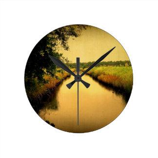 Clock Round Medium Lowcountry Marsh Scene