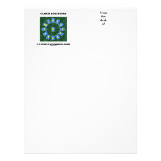 Clock Solitaire Is A Purely Mechanical Game Letterhead