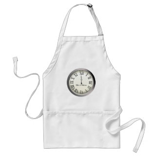 Clock Strikes Midnight New Year's Eve Adult Apron