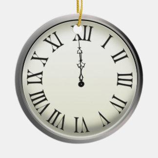 Clock Strikes Midnight New Year's Eve Ceramic Ornament