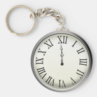Clock Strikes Midnight New Year's Eve Keychain