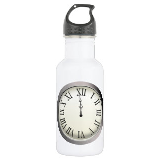 Clock Strikes Midnight New Year's Eve Stainless Steel Water Bottle