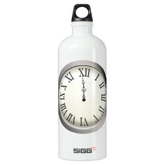 Clock Strikes Midnight New Year's Eve Water Bottle