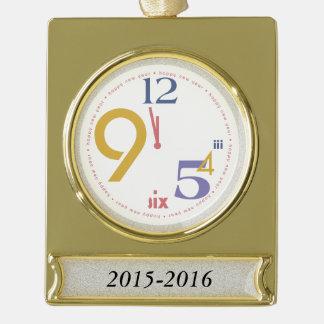 Clock Strikes Twelve - Gold Plated Banner Ornament