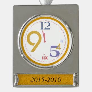 Clock Strikes Twelve - Silver Plated Banner Ornament