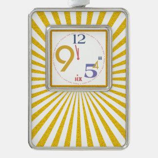 Clock Strikes Twelve - Silver Plated Framed Ornament