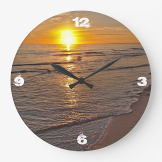 Clock: Sunset by the Beach Large Clock