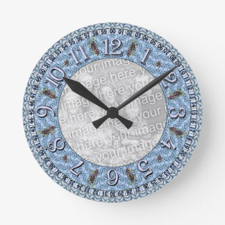 Clock template - Blue Vines - Add image